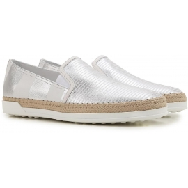 Tod's women's slip-ons sneakers in silver laminated leather