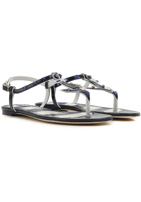 Dolce&Gabbana flats t-strap sandals in Blue Patent Leather