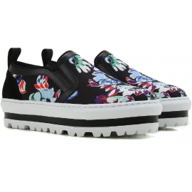 MSGM wedges slip-on sneakers in black Leather Fabric floral pattern