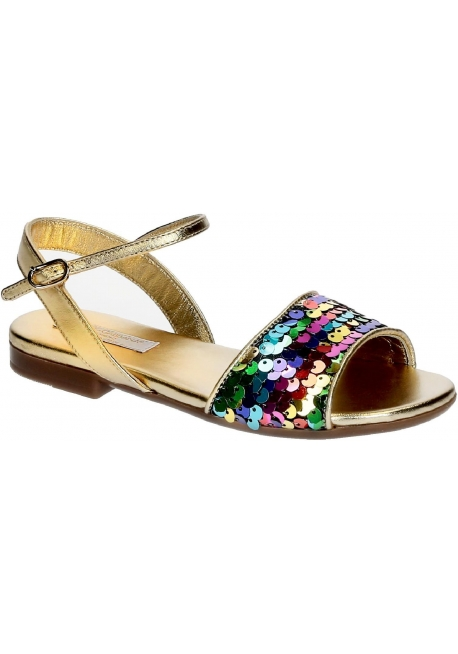 Dolce&Gabbana child flats sandals in golden Lamé leather