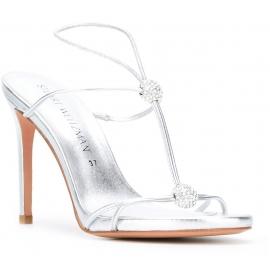 Stuart Weitzman high heel sandals in silver Laminated calf leather