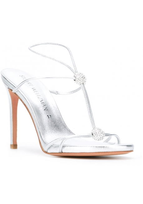 Stuart Weitzman high heel sandals in silver Laminated calf leather