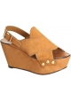Chloé wedges sandals in Camel Suede leather