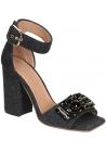Marni high heels sandals in Dark Gray Felt with crystals