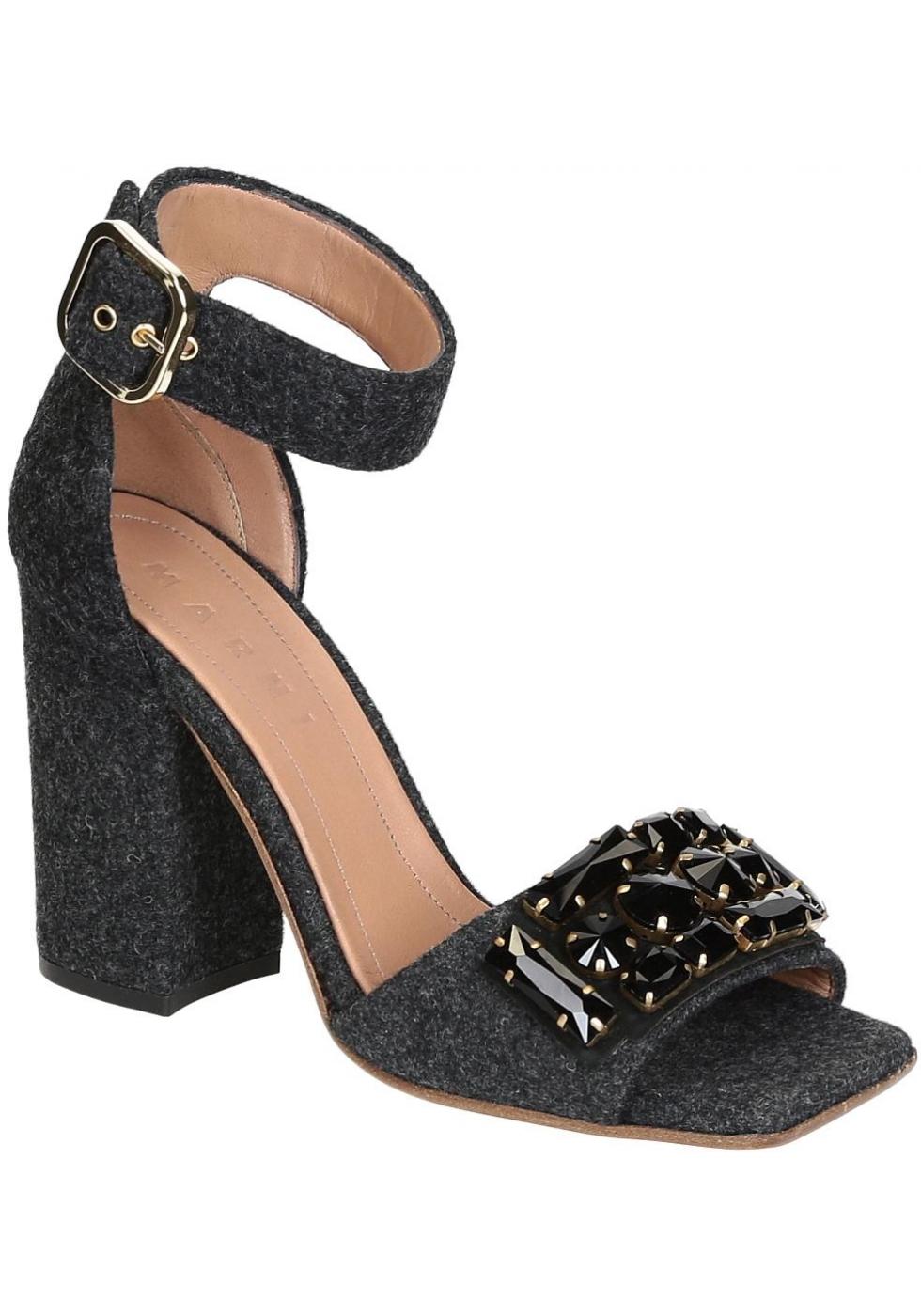 Marni High Heels Sandals In Dark Gray Felt With Crystals Italian Boutique