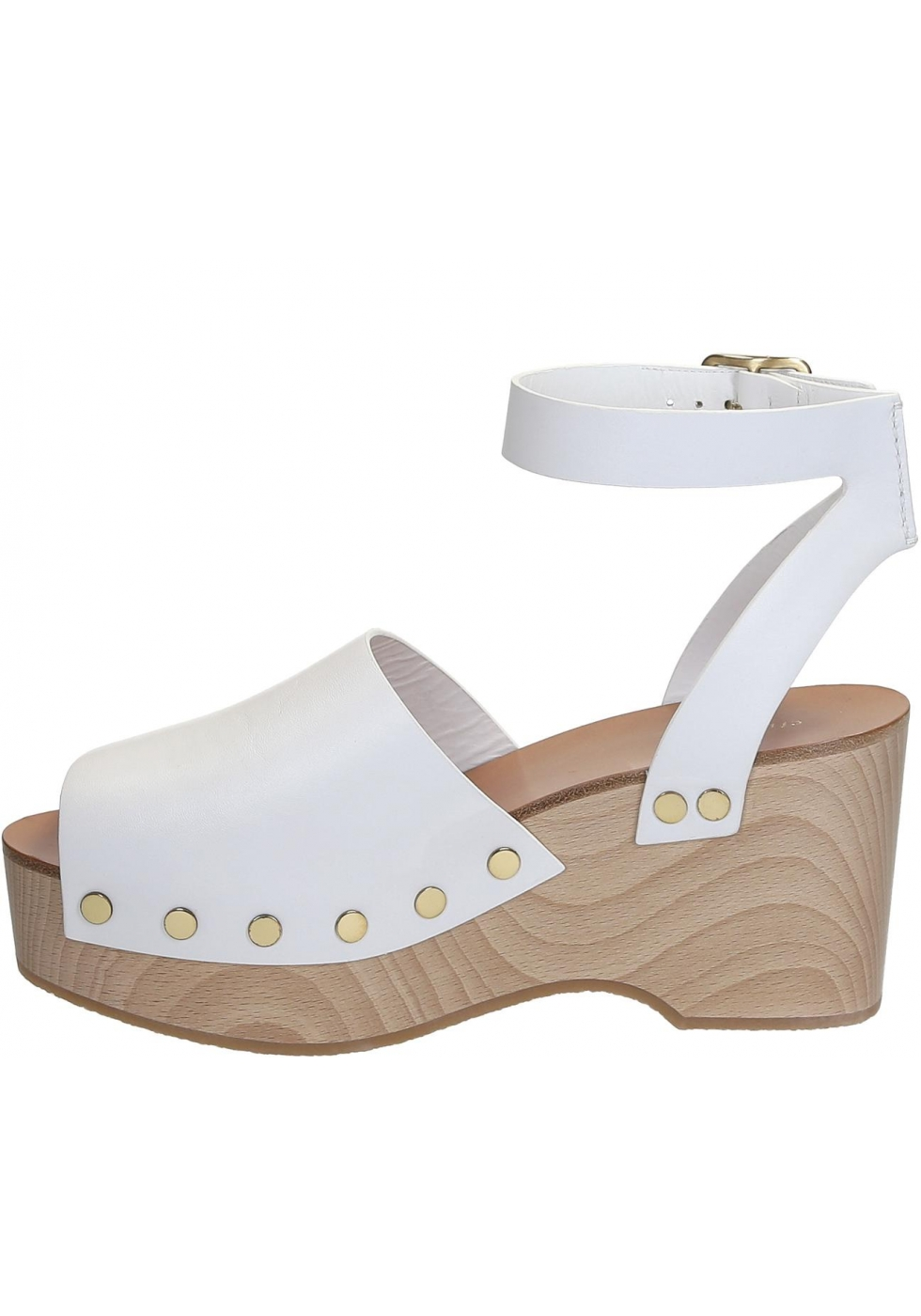 f9a6cf0a35846 Céline wedges clogs sandals in white Calf leather - Italian Boutique