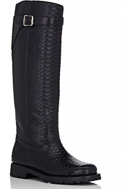 Saint Laurent knee high boots in black Python skin