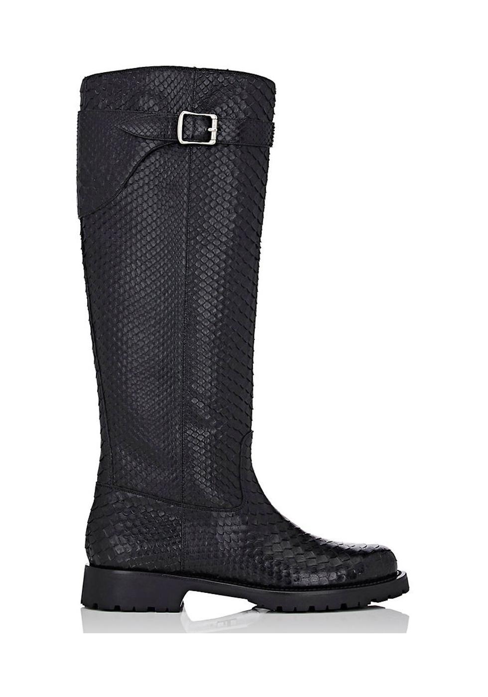 3c984d4e775a Saint Laurent knee high boots in black Python skin - Italian Boutique