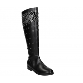 Alaïa flats knee high boots in black Calf leather