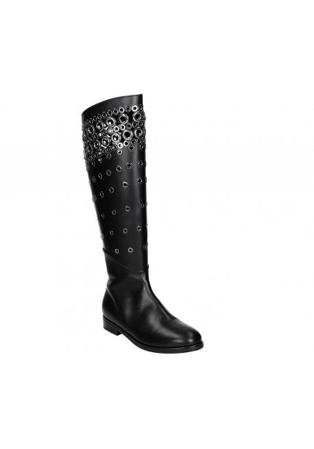 Alaïa flats knee high boots in black Calf leather