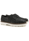 Hogan women's lace-ups shoes in black glitter leather