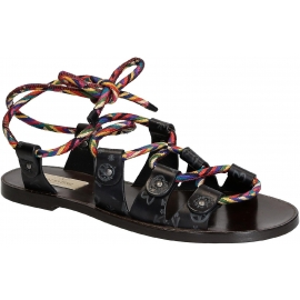 Valentino women's flat sandals in Anthracite Leather