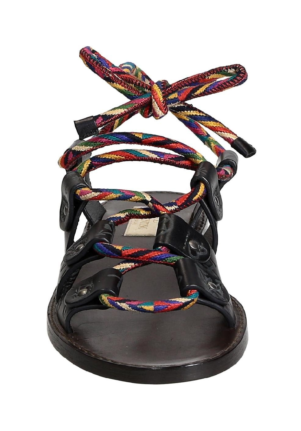 Valentino Women S Flat Sandals In Anthracite Leather