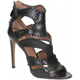 Alaïa high heels sandals in black Python leather