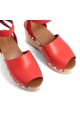 Céline sandals with wood platform in Bright Red Calf leather