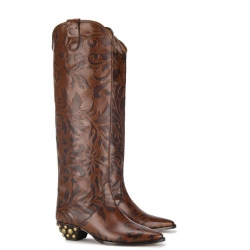 Isabel Marant knee high western boots in brown Calf leather
