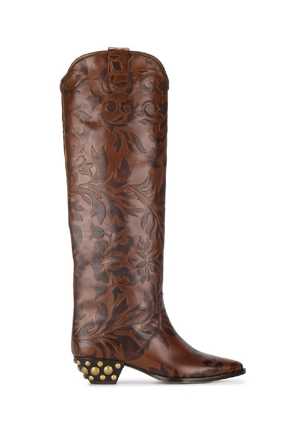 Isabel Marant Knee High Western Boots In Brown Calf Leather Italian Boutique