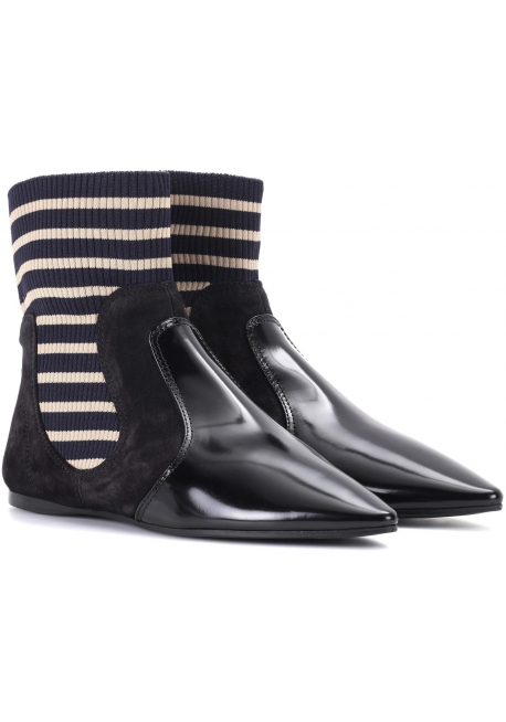 Acne Studios flat ankle boots in fabric and black patent