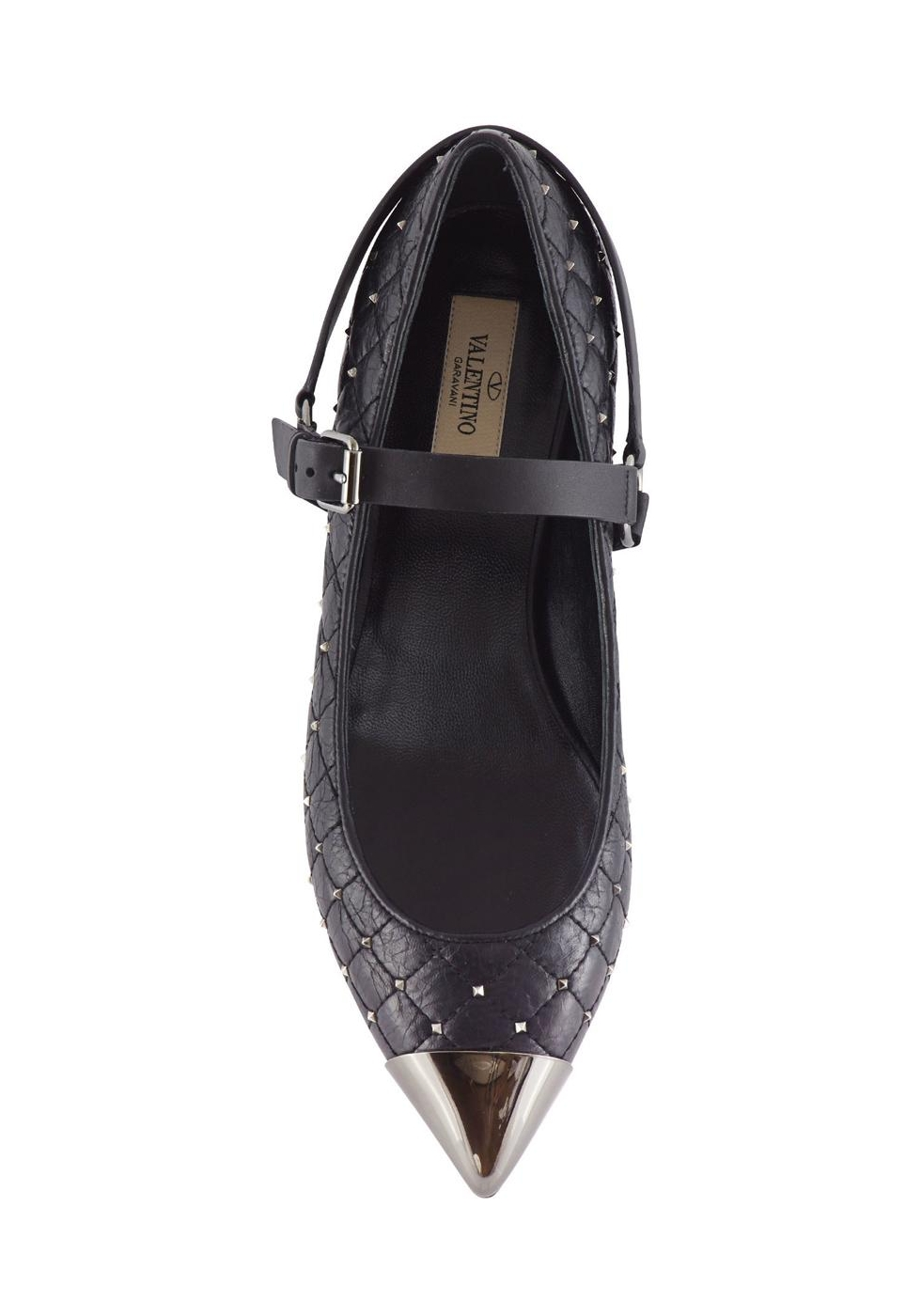 Valentino stripes ballerina in black leather with studs ...