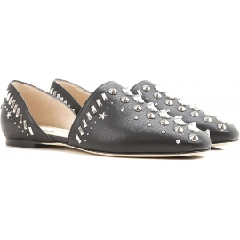 Jimmy Choo d'orsay flats shoes studded black Leather