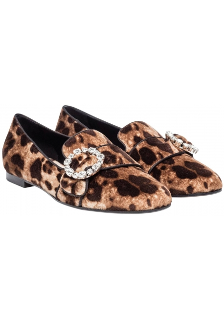 Dolce&Gabbana loafers shoes in leopard print Velvet