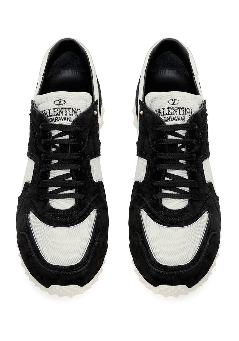 Valentino men's sneakers in black Leather white Fabric ...