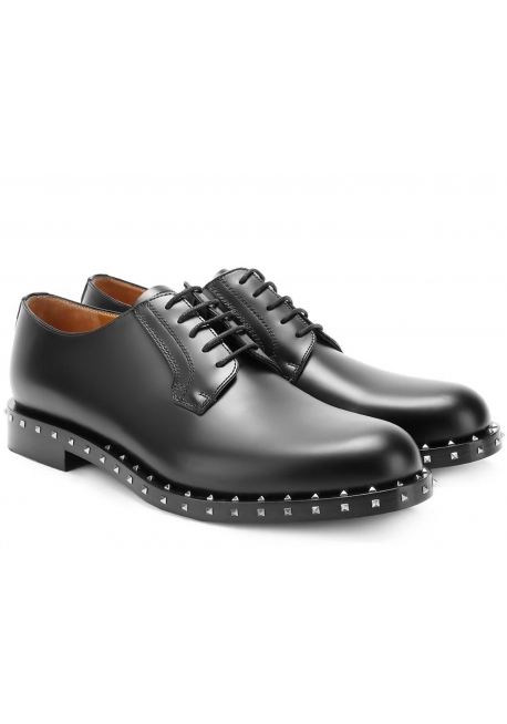 Valentino men's dress lace-up shoes in black Leather