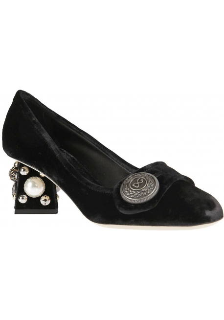 Dolce&Gabbana squared heels pumps in black velvet