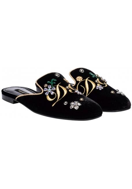 Dolce&Gabbana women's slippers in black velvet