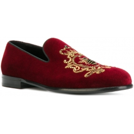 Dolce&Gabbana men's loafers in burgundy velvet