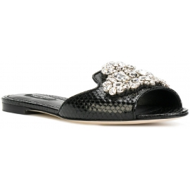 Dolce&Gabbana flat slides in black snakeskin with crystals