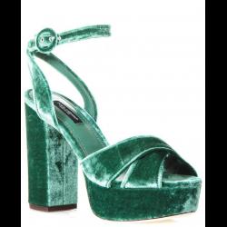 Dolce&Gabbana sandals with platform in green velvet