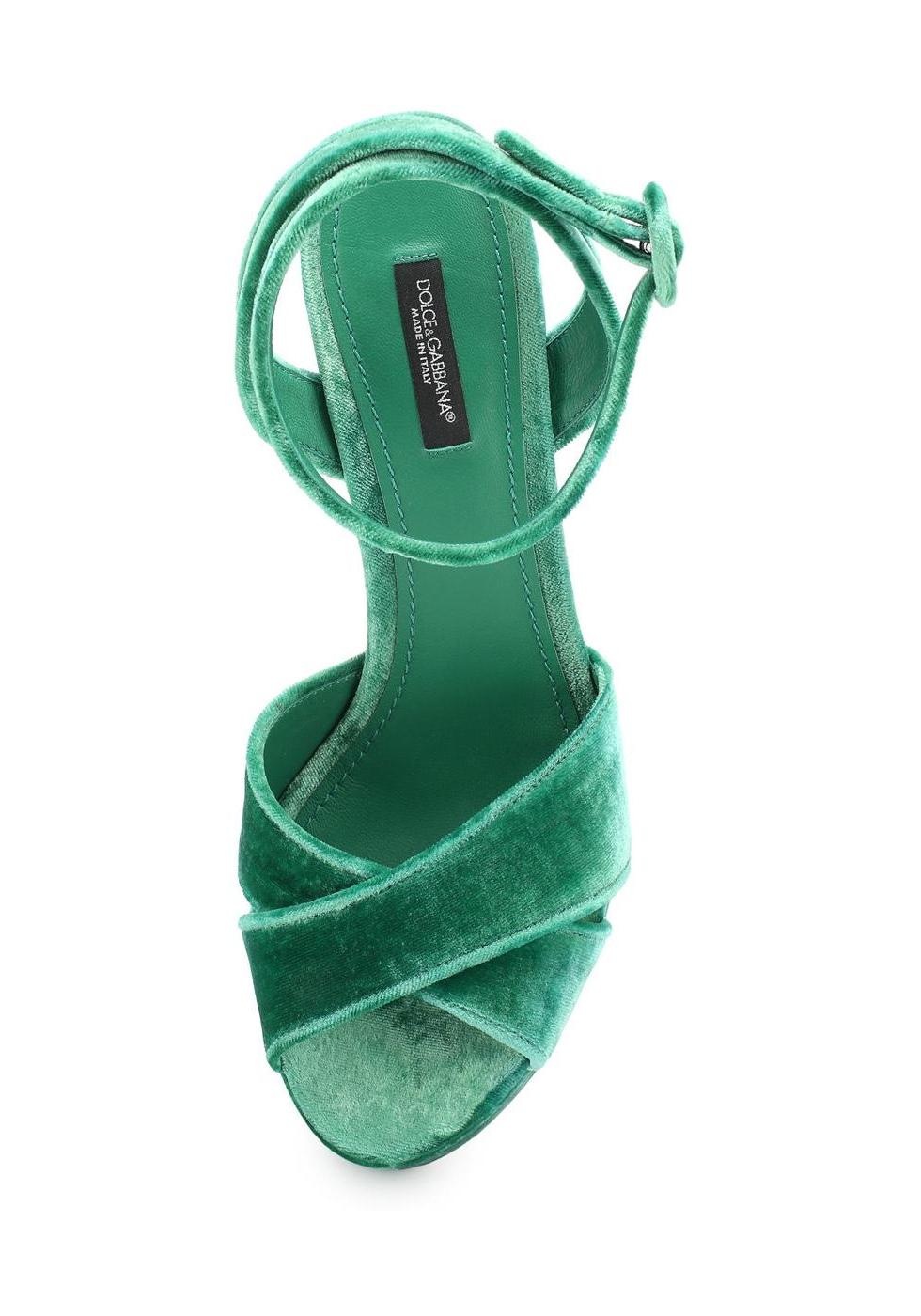 Dolce Amp Gabbana Sandals With Platform In Green Velvet