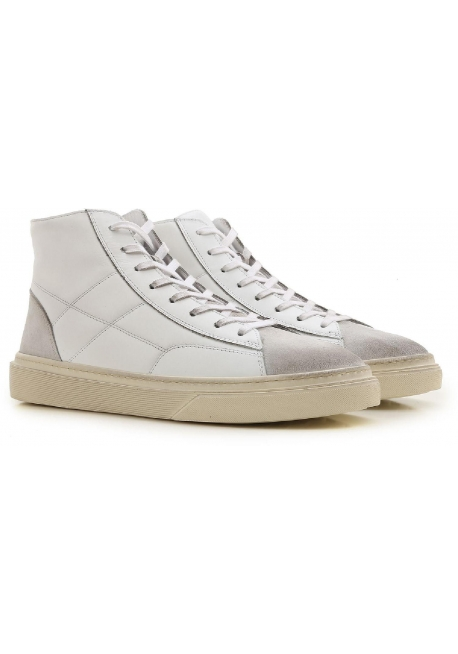 Hogan men's high sneakers in off-white leather