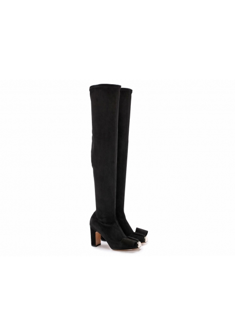 Valentino thigh high boots in black faux suede