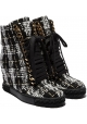 Casadei wedges ankle boots in black/white fabric