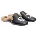 Chiara Ferragni slippers in black Leather fur lined