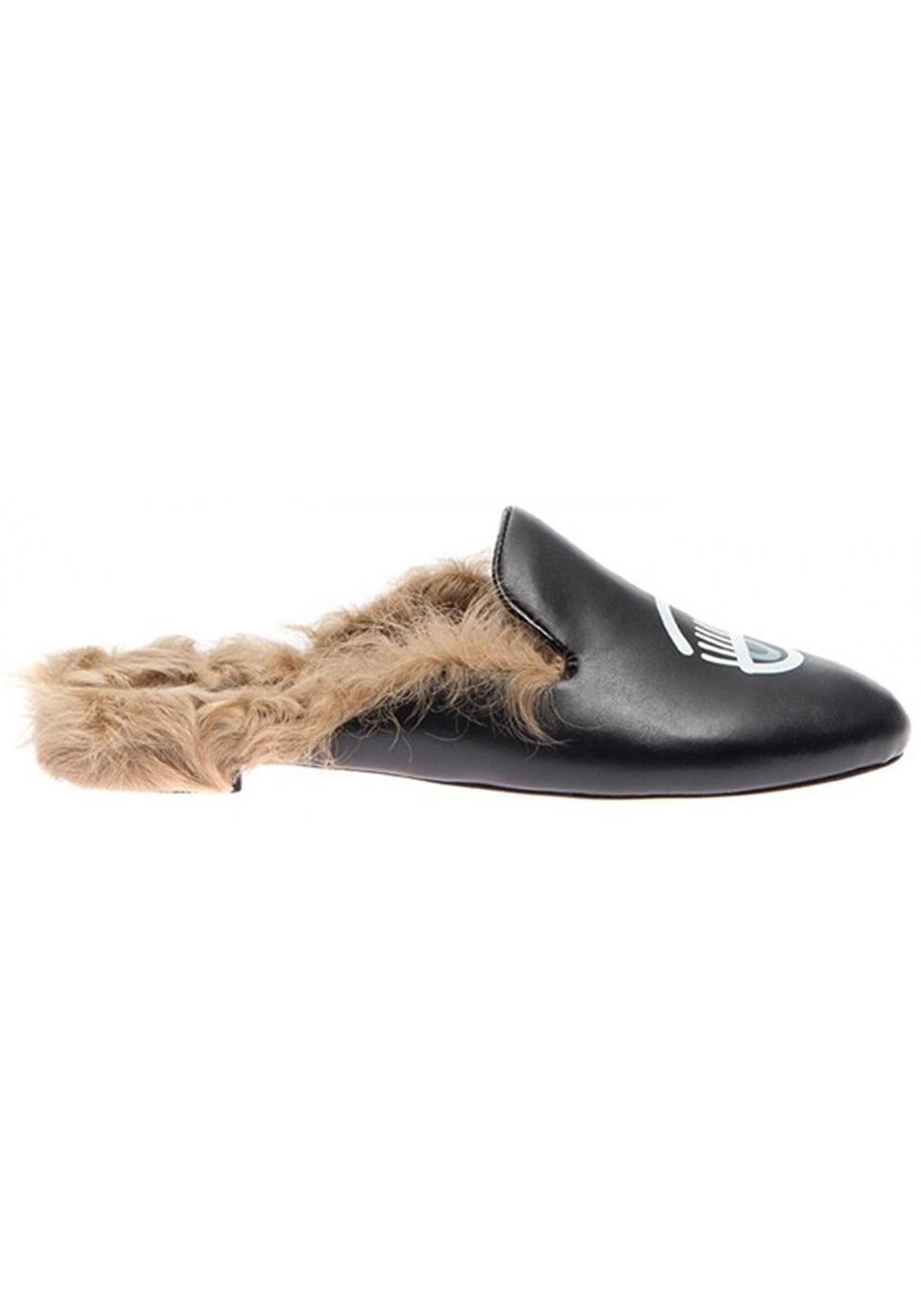 cieco più vicino a comprare a buon mercato Chiara Ferragni slippers in black Leather fur lined - Italian Boutique