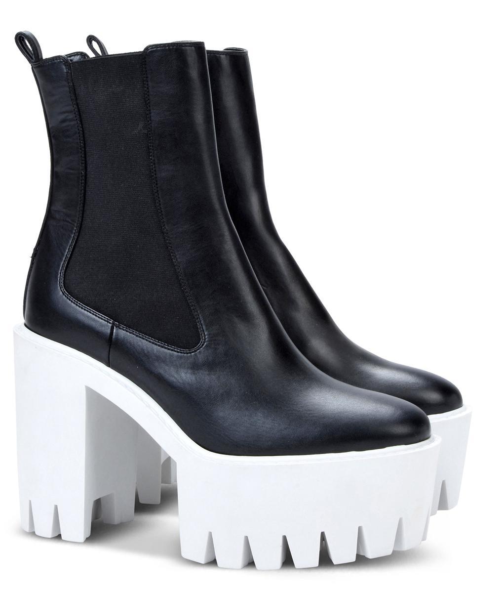 3826778c8872 Stella McCartney platform heels ankle boots in black faux leather - Italian  Boutique