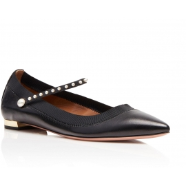 Aquazzura flats ballerina in black leather with pearls