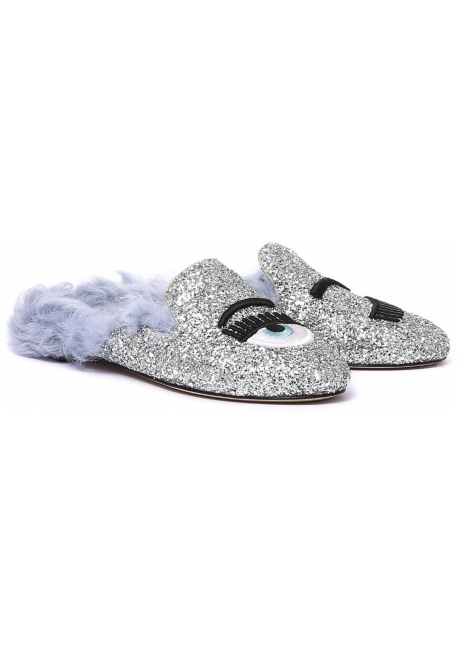 Chiara Ferragni fur lined slippers in silver glitter