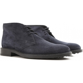 Tod's men's ankle boots in dark blue suede leather