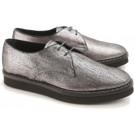 Tod's women's flat lace-up in silver metallic leather