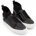 Pierre Hardy women's high top sneakers black leather