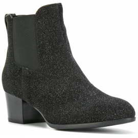 Hogan kitten heel ankle boots in black suede glitter