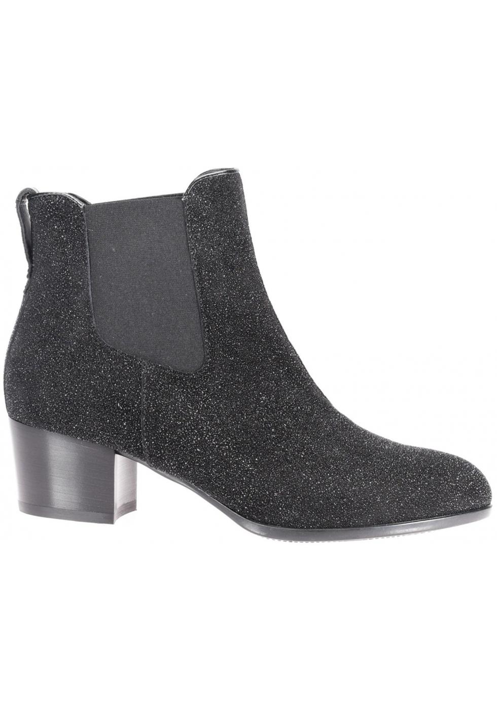 Hogan Kitten Heel Ankle Boots In Black Suede Glitter