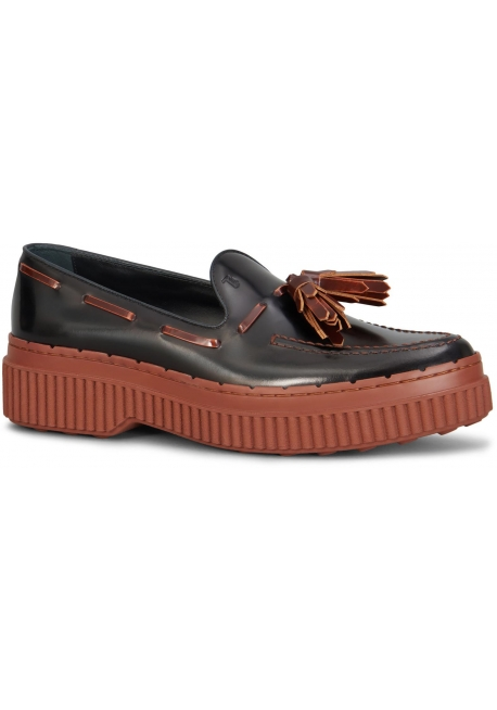 Tod's women's loafers in black shiny calf leather
