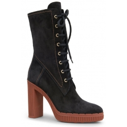 Tod's heeled midcalf booties in black suede leather