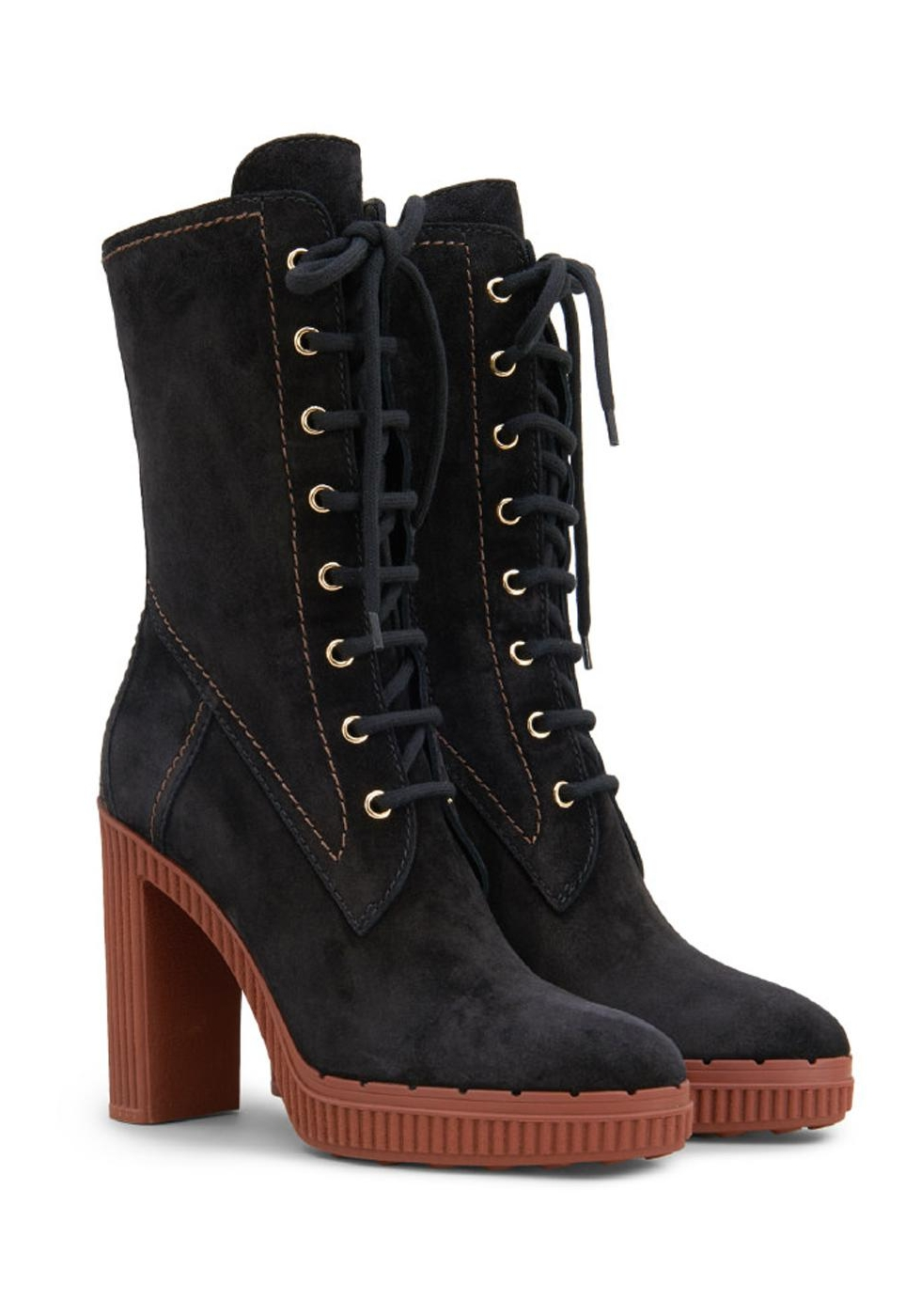 Tod S Heeled Midcalf Booties In Black Suede Leather