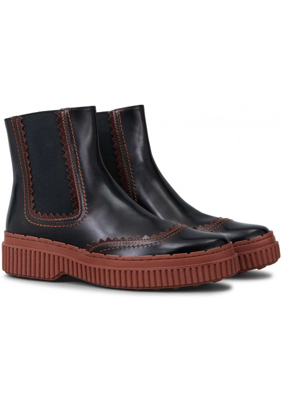 Tod S Women S Chelsea Boots In Brown Patent Leather Italian Boutique